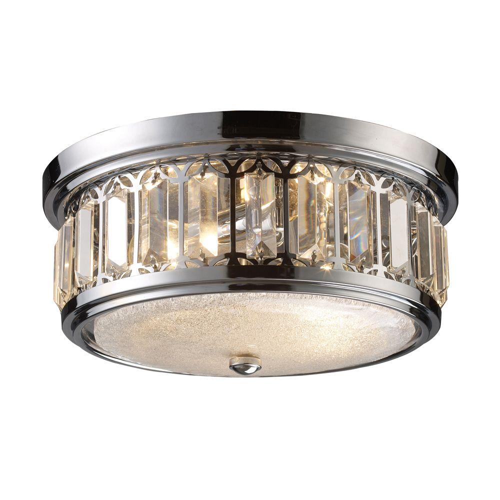 Titan Lighting 2-Light Ceiling Mount Polished Chrome Flush Mount