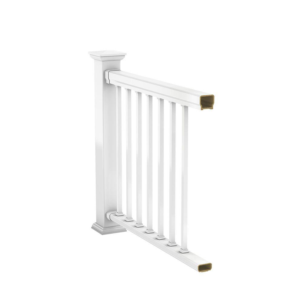 veranda 6 ft hp classic rail kit railing white the home depot canada. Black Bedroom Furniture Sets. Home Design Ideas
