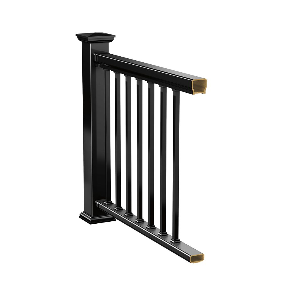 veranda 8 ft hp classic rail kit railing black the home depot canada. Black Bedroom Furniture Sets. Home Design Ideas
