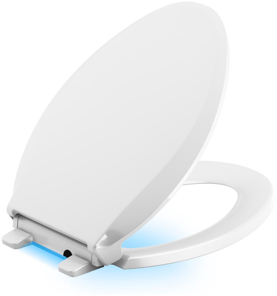 Cachet Quiet-Close Elongated Toilet Seat in White with LED Nightlight