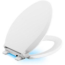 KOHLER Cachet Quiet-Close Elongated Toilet Seat in White with LED Nightlight