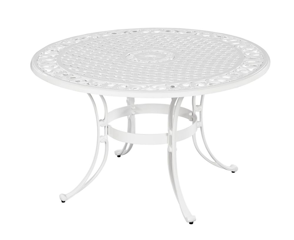42-inch Round Patio Dining Table in White Finish