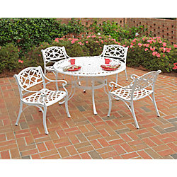 Home Styles Biscayne 5-Piece Patio Dining Set with 42-inch White Table and Four Arm Chairs