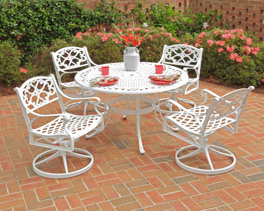 Biscayne 5-Piece Patio Dining Set with 42-inch White Table and Four Swivel Chairs