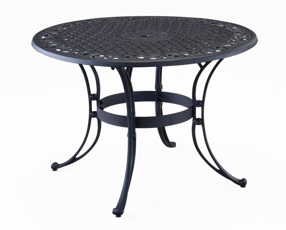 Home styles 48 inch round dining table black finish the for Black round dining table