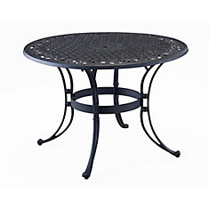 48-inch Round Patio Dining Table in Black Finish