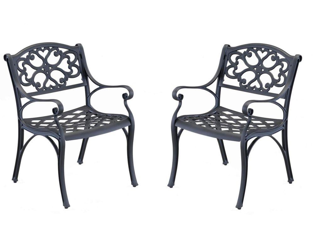 Arm Chair Pair Black Finish