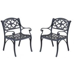 Home Styles Patio Arm Chair in Black (Set of 2)