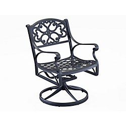 Home Styles Patio Swivel Chair in Black