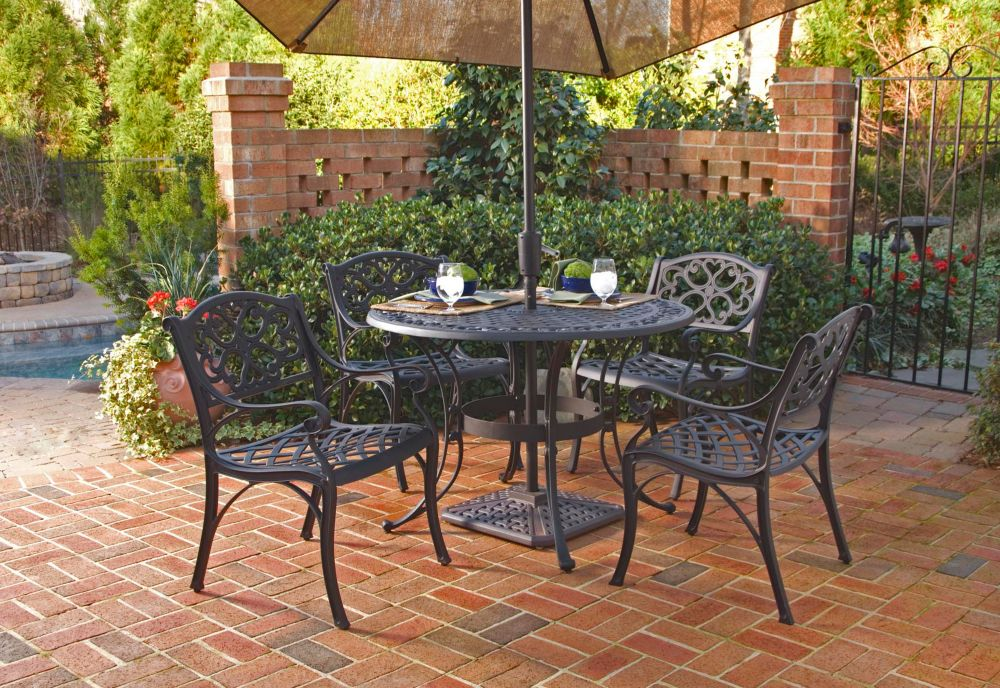 Biscayne 5-Piece Patio Dining Set with 42-inch Black Table and Four Arm Chairs