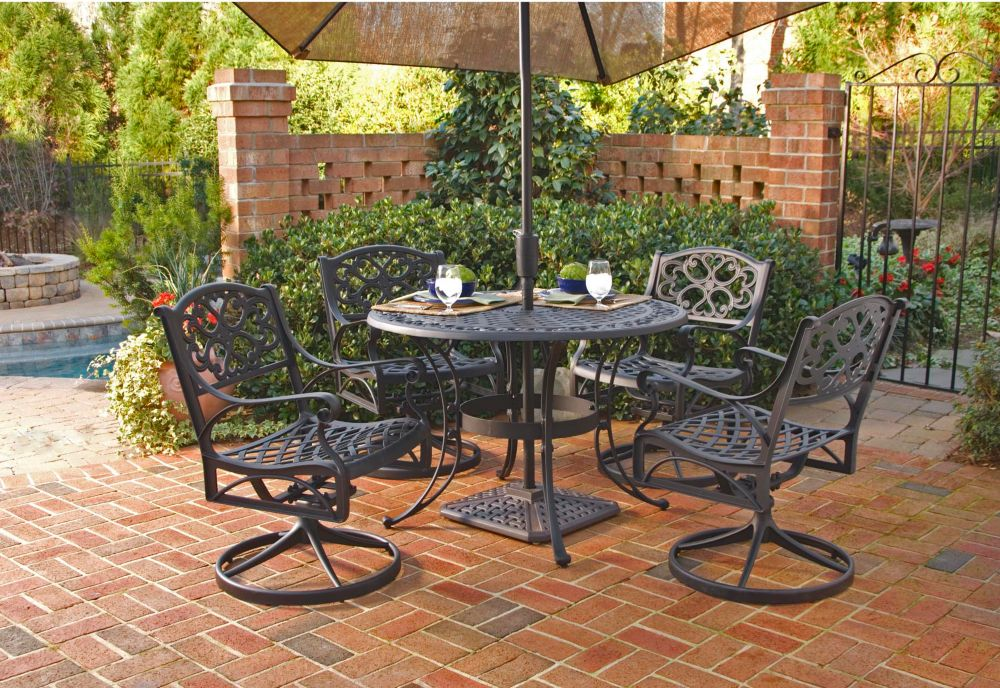 Biscayne 5-Piece Patio Dining Set with 42-inch Black Table and Four Swivel Chairs