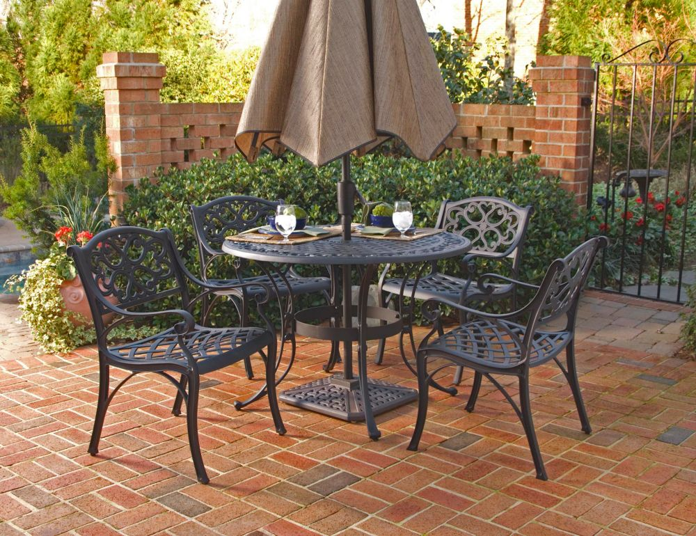 Home Styles Biscayne 5-Piece Patio Dining Set with 48-inch Black Table and Four Arm Chairs