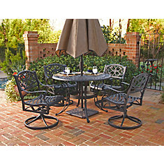 Biscayne 5-Piece Patio Dining Set with 48-inch Black Table and 4 Swivel Chairs
