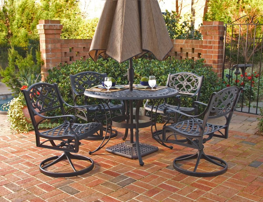 Home Styles Biscayne 5-Piece Patio Dining Set with 48-inch Black Table and 4 Swivel Chairs