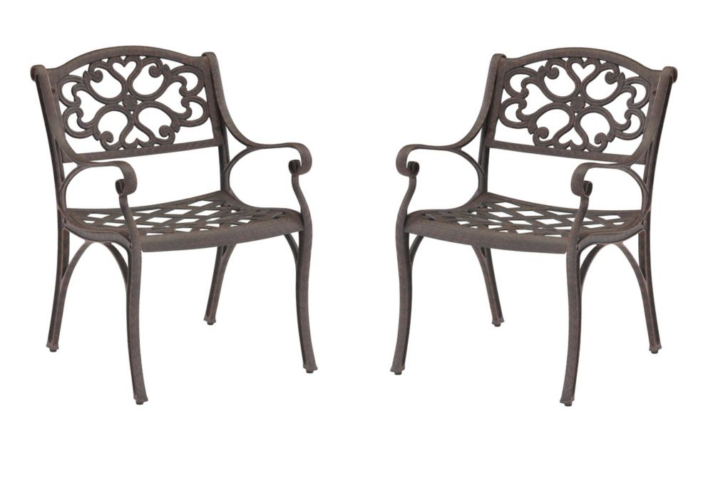 Home Styles Patio Arm Chair in Bronze (Set of 2)