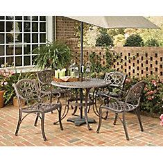 Ensemble de salle à manger Biscayne de 5 pièces, table bronze de 106,7cm (42po) avec quatre fauteuils
