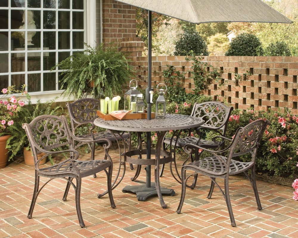 Biscayne 5-Piece Patio Dining Set with 42-inch Bronze Table and Four Arm Chairs