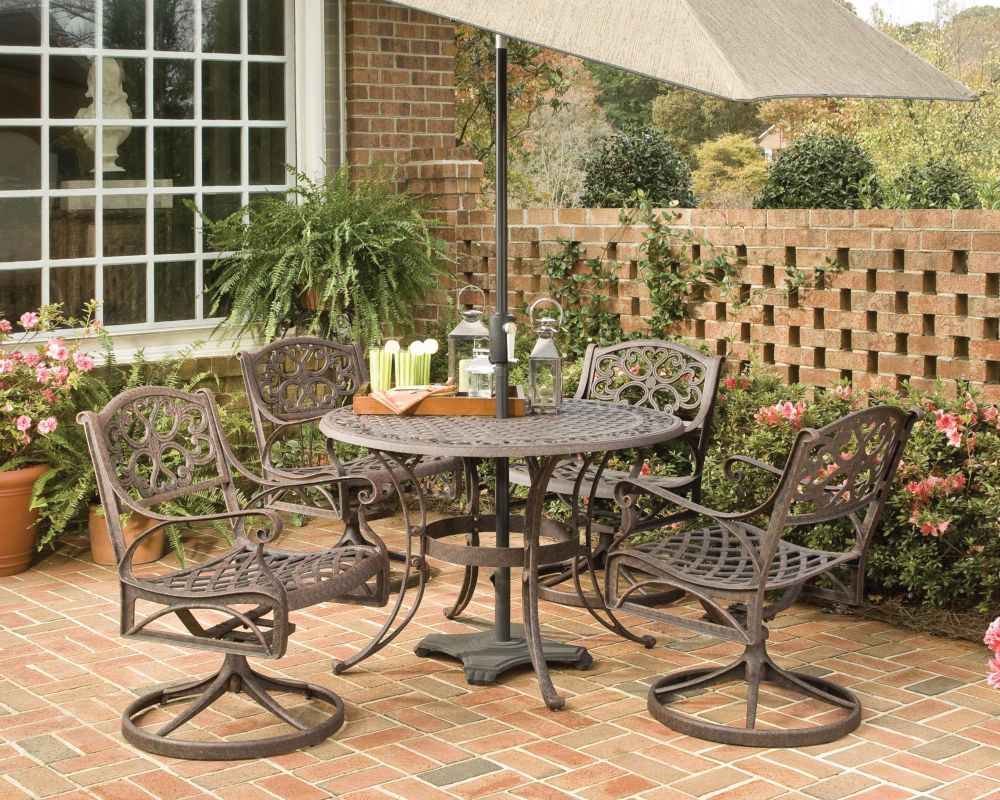 Biscayne 5-Piece Patio Dining Set with 42-inch Bronze Table and Four Swivel Chairs