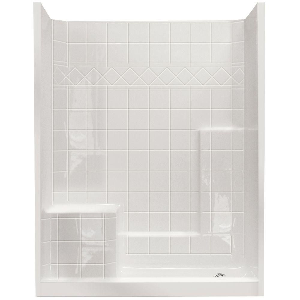 Ella standard 32 inch x 60 inch x 77 inch 3 piece shower wall and base kit in white with 4 - Walk in shower base kit ...