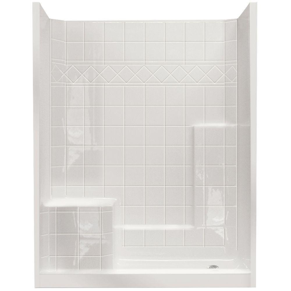 Standard 32 po x 60 po x 77 po, douche murale de 3 pièces et ensemble de base en blanc avec seuil...