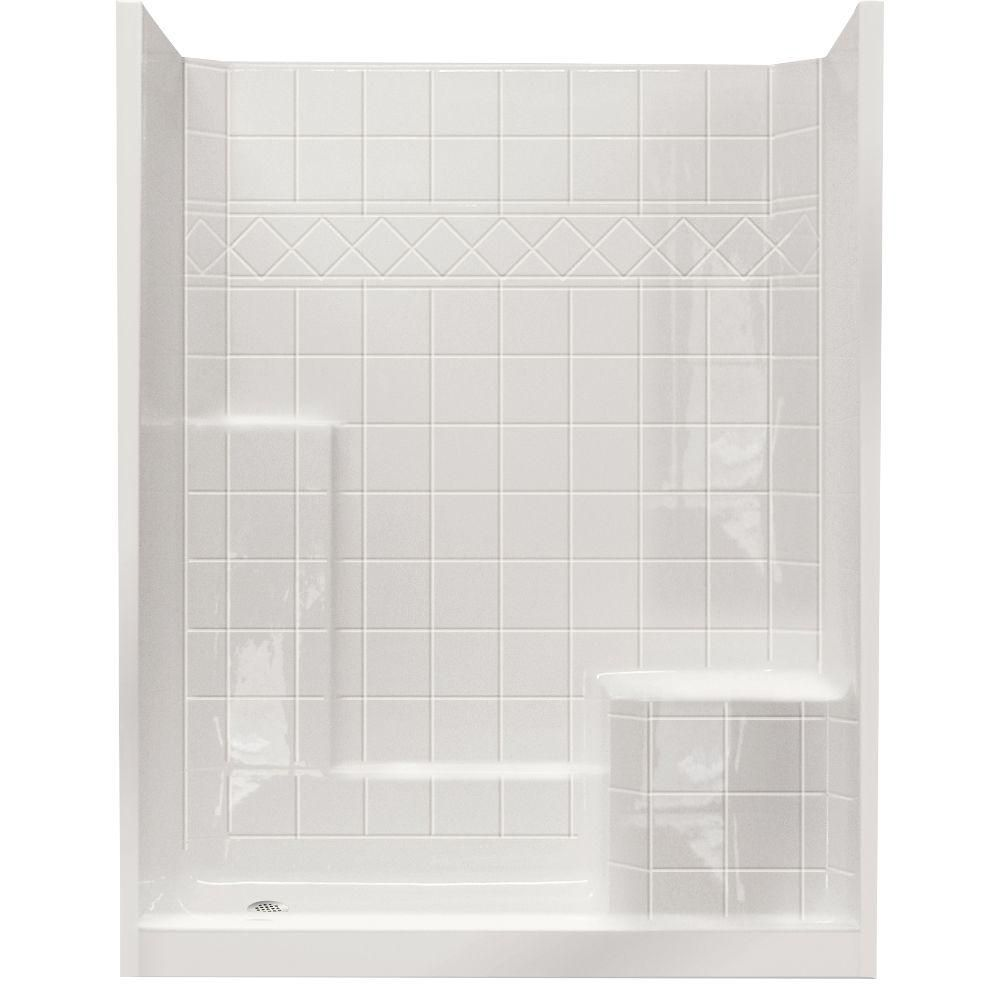 Ella standard 32 inch x 60 inch x 77 inch 3 piece shower stall in white the home depot canada - Walk in shower base kit ...