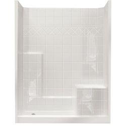Ella Standard 32 po x 60 po x 77 po, douche murale de 3 pièces et ensemble de base en blanc avec seuil bas de 4 po