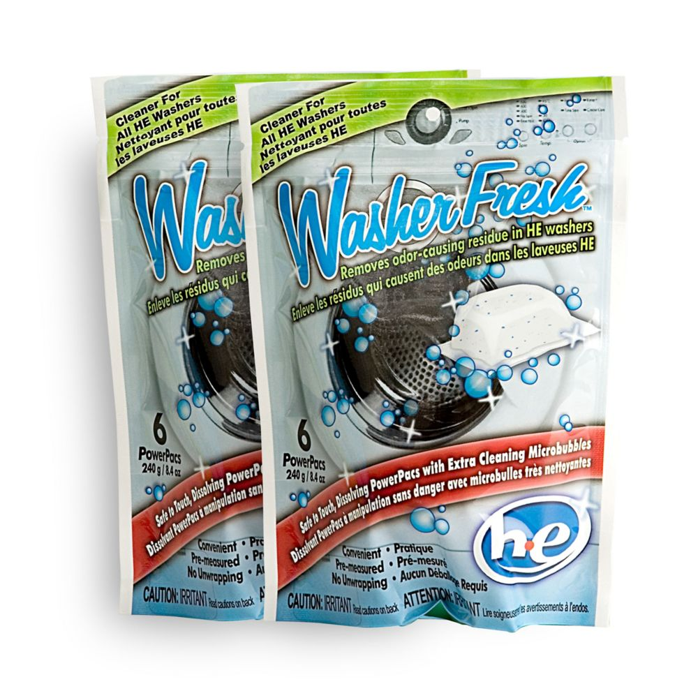 High Efficiency Washing Machine Cleaner & Refresher - 2 Pack (6 Pouch)