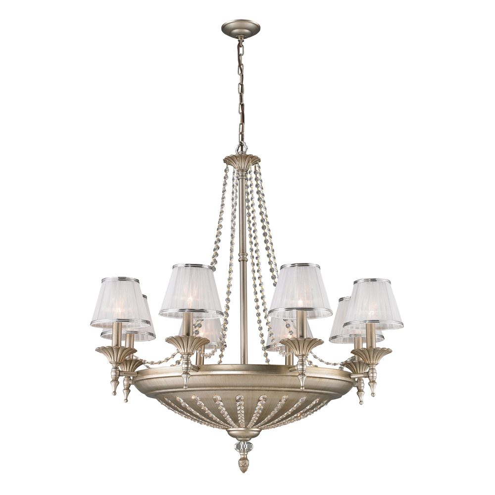 Titan Lighting 14- Light Ceiling Mountaged Silver Chandelier