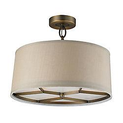 Titan Lighting Luminaire suspendu à 3ampoules au fini laiton antique brossé