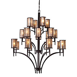 Titan Lighting 20-Light Ceiling Mount Aged Bronze Chandelier