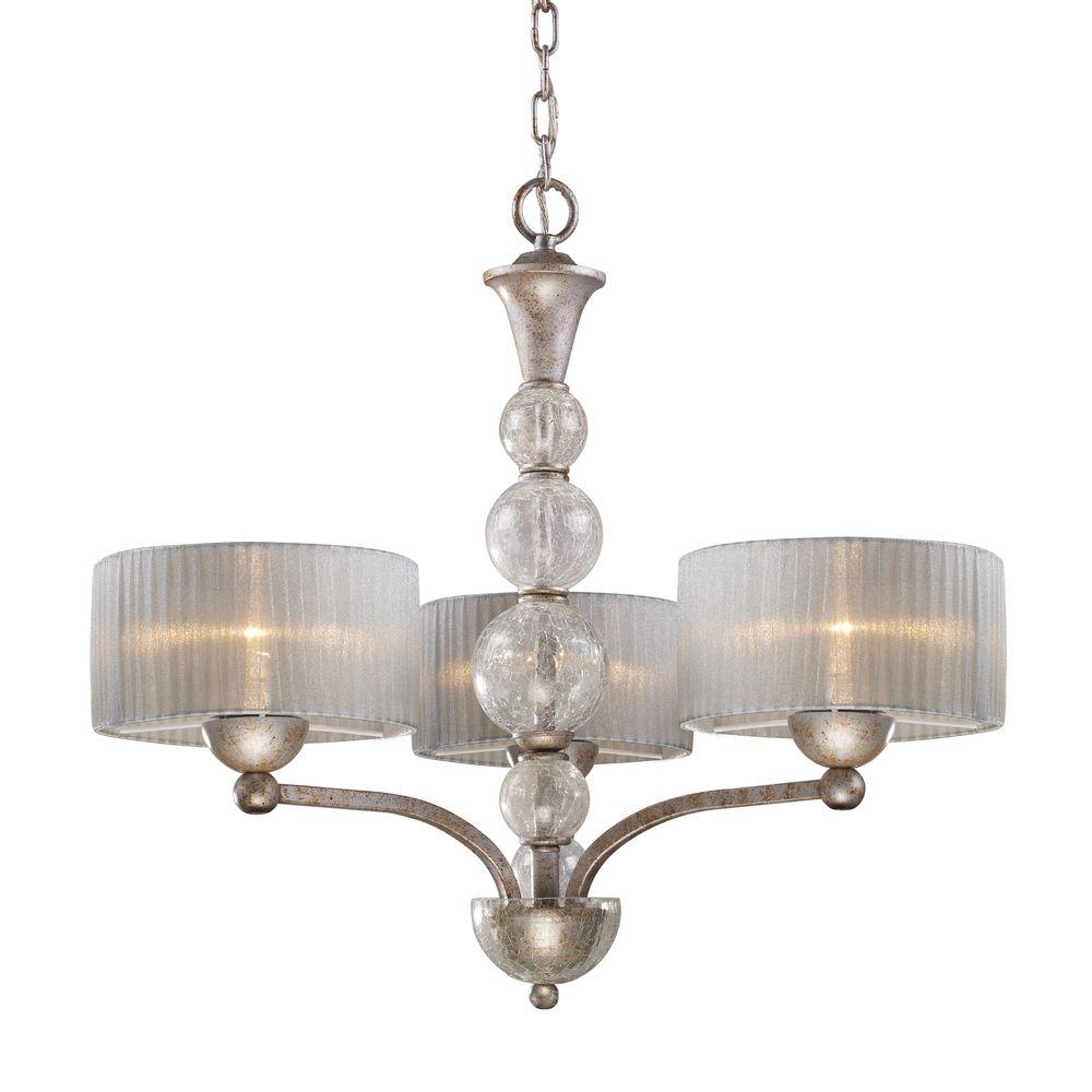 3-Light Ceiling Mount Antique Silver Chandelier