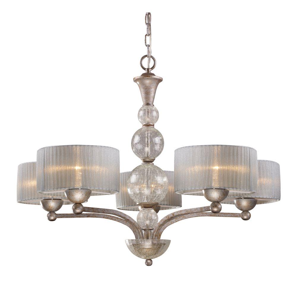5-Light Ceiling Mount Antique Silver Chandelier