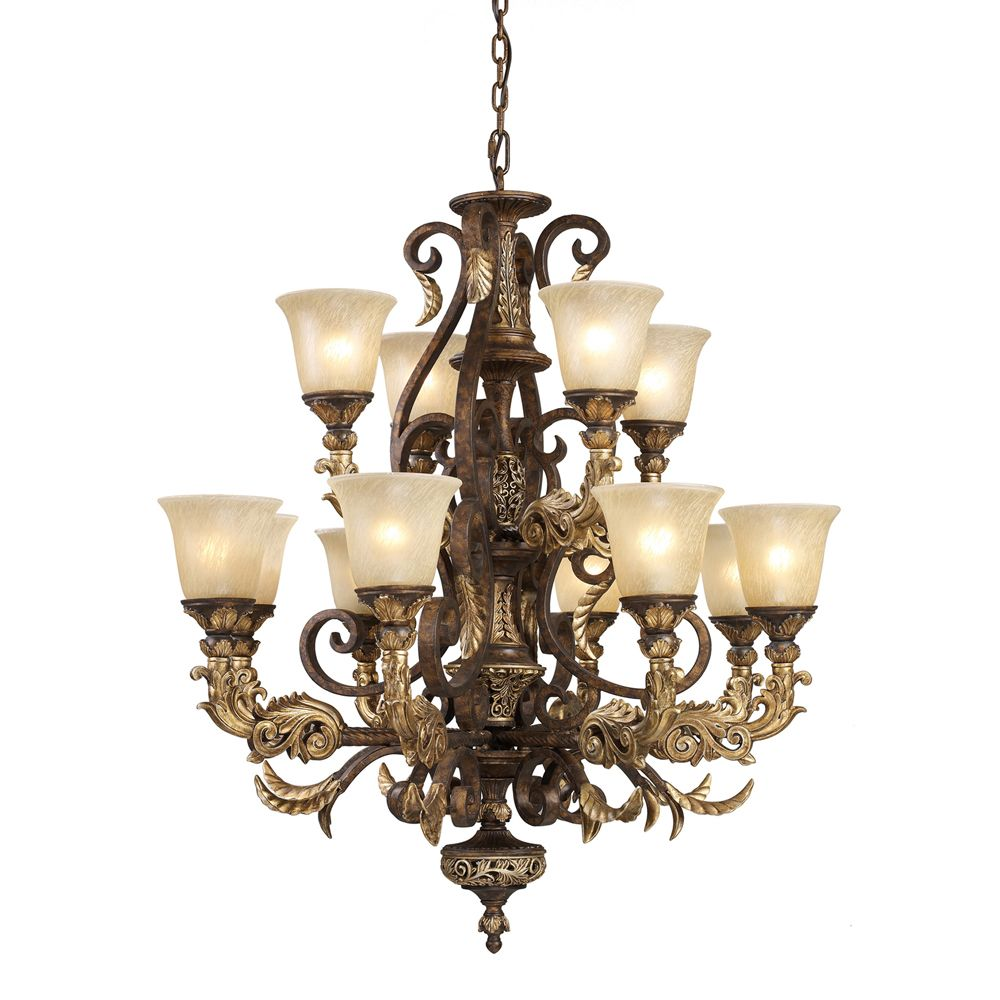 Titan Lighting 12 Light Ceiling Mount Burnt Bronze Chandelier