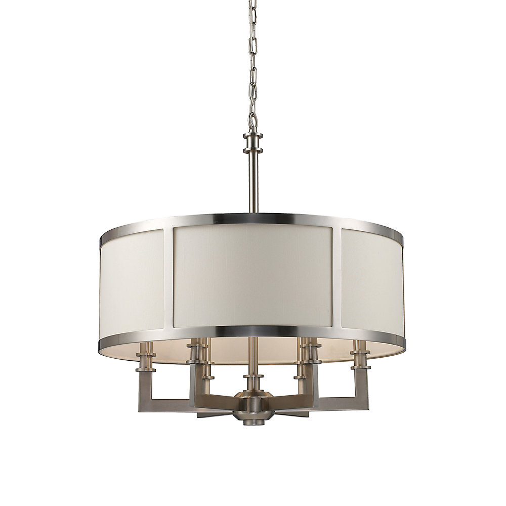 6-Light Ceiling Mount Satin Nickel Chandelier