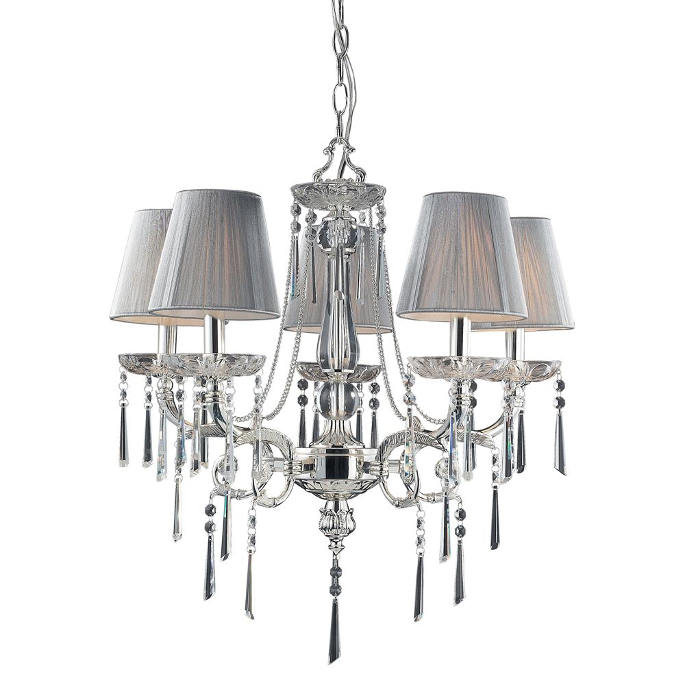 5-Light Ceiling Mount Polished Silver Chandelier