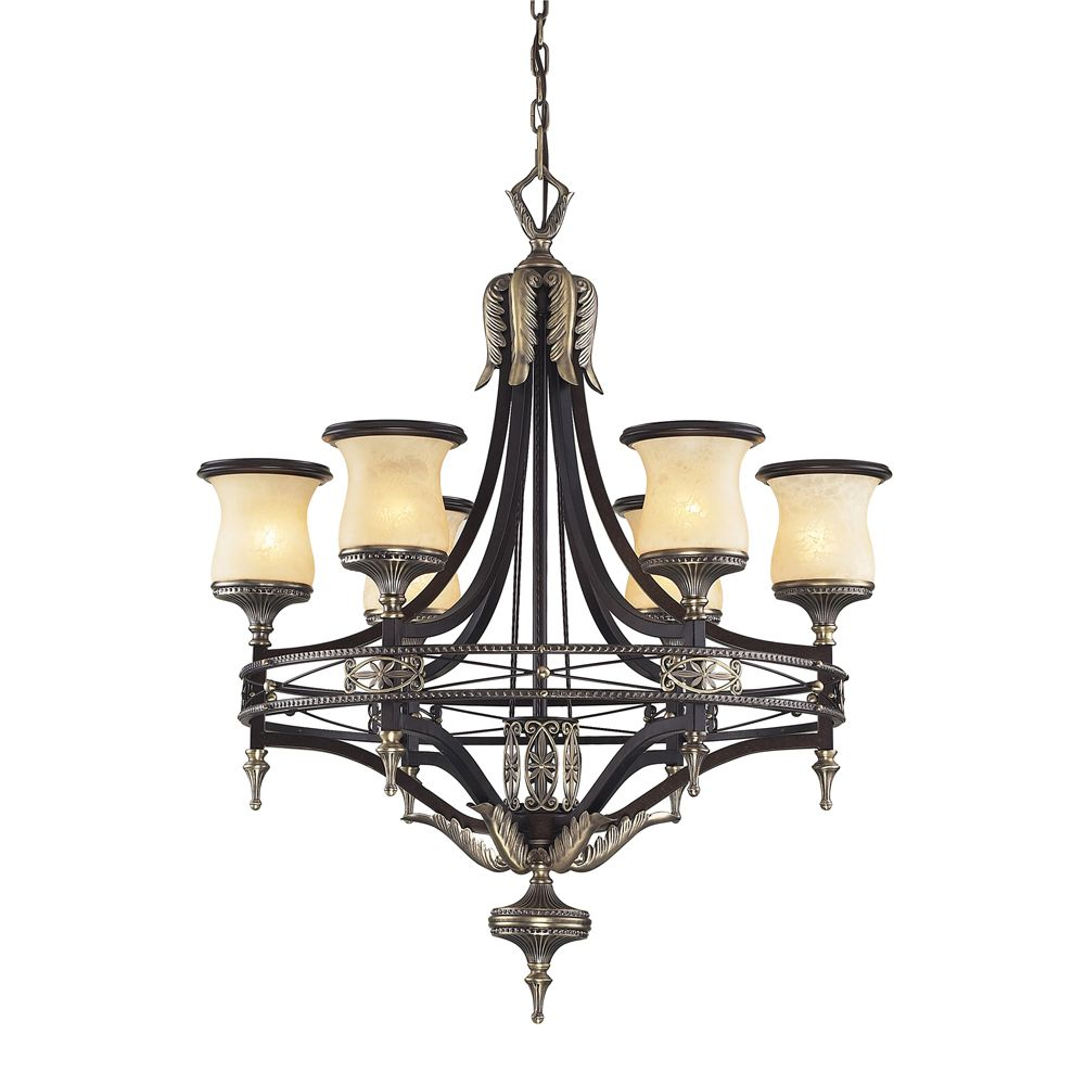Titan Lighting 6- Light Ceiling Mount Antique Brass Chandelier