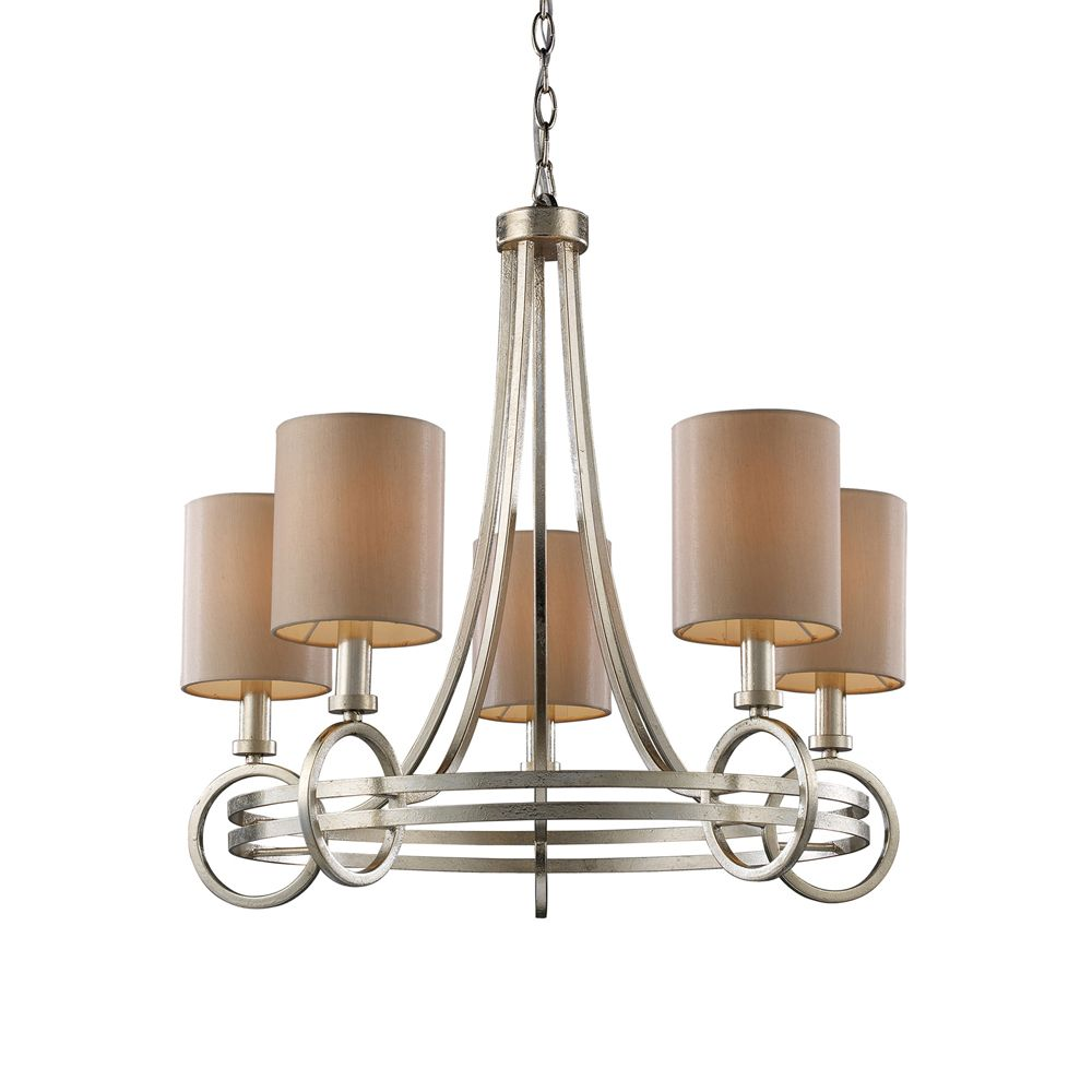 5-Light Ceiling Mount Renaissance Silver Chandelier