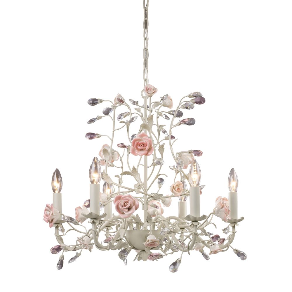 6 Light Ceiling Mount Cream Chandelier