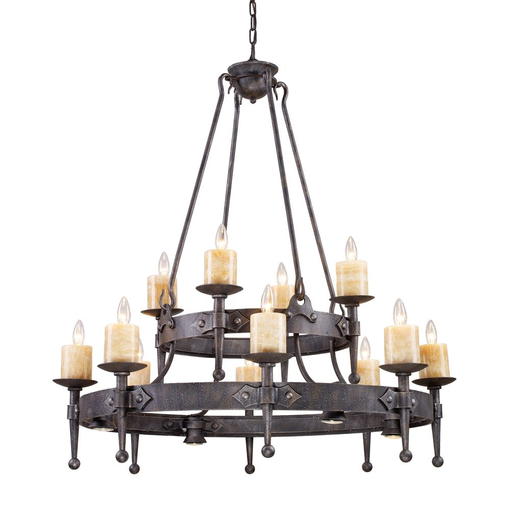 16-Light Ceiling Mounted Chandelier in Mocha