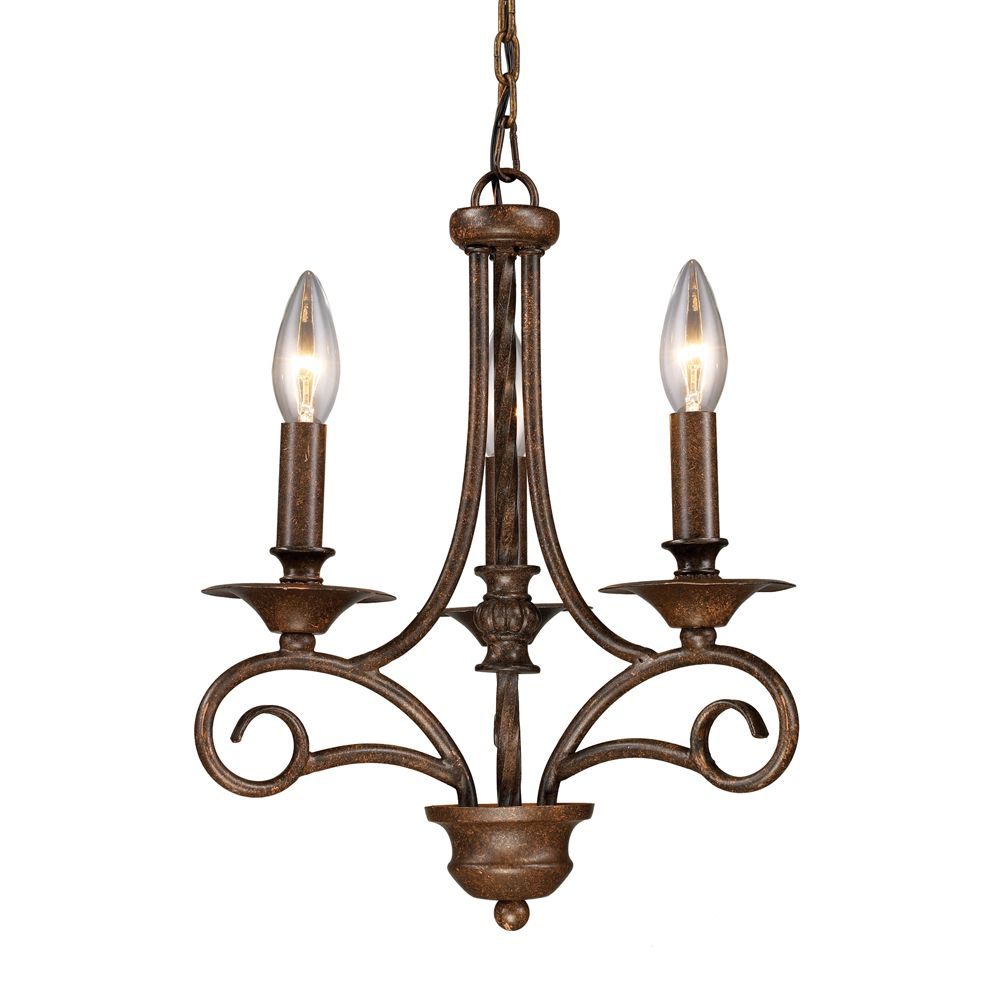 3- Light Ceiling Mount Antique Brass Chandelier