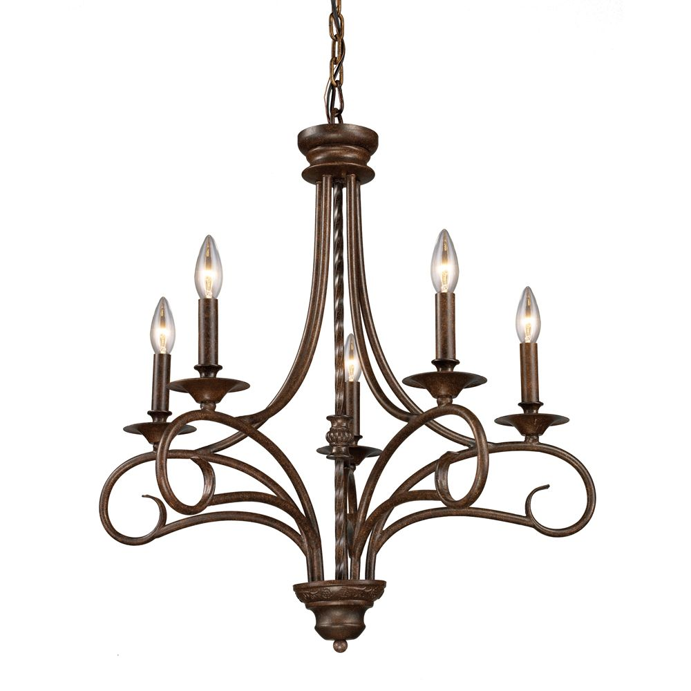 Titan lighting 5 light ceiling mount antique brass chandelier the home depot canada - Can light chandelier ...