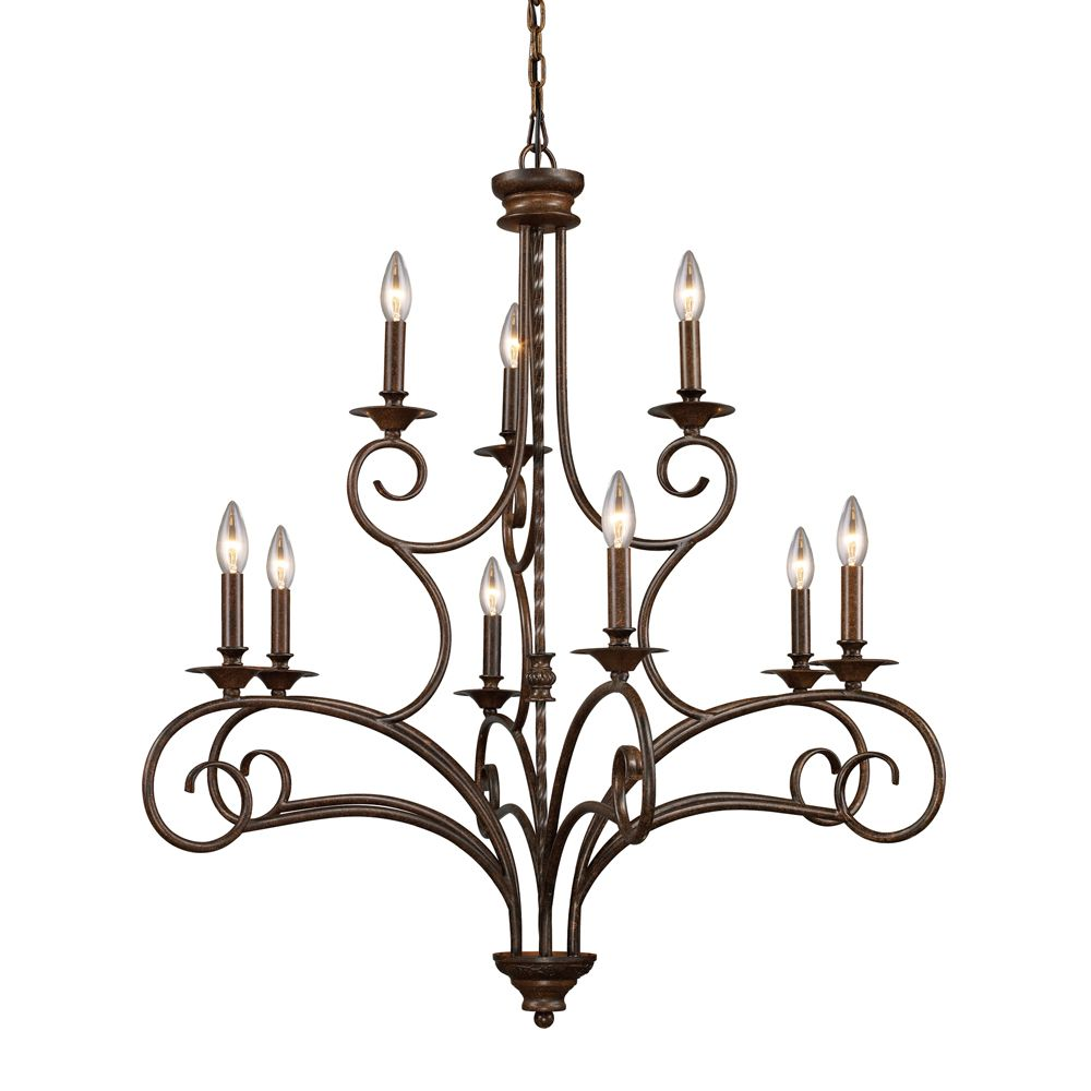 9- Light Ceiling Mount Antique Brass Chandelier