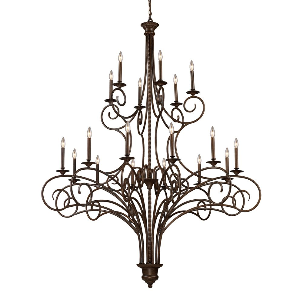 18- Light Ceiling Mount Antique Brass Chandelier