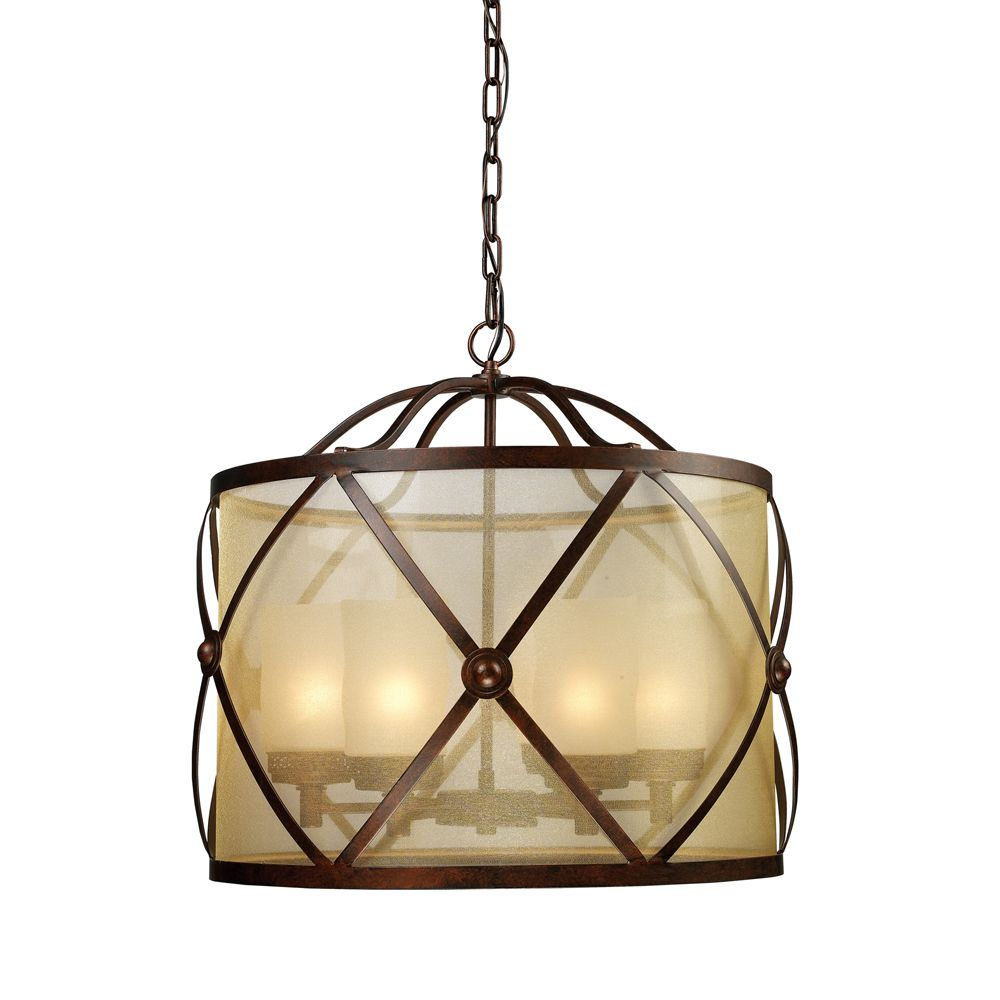 6-Light Ceiling Mount Classic Bronze Chandelier