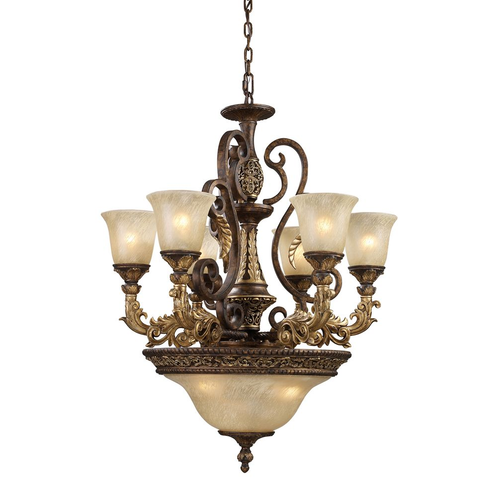 9 Light Ceiling Mount Burnt Bronze Chandelier