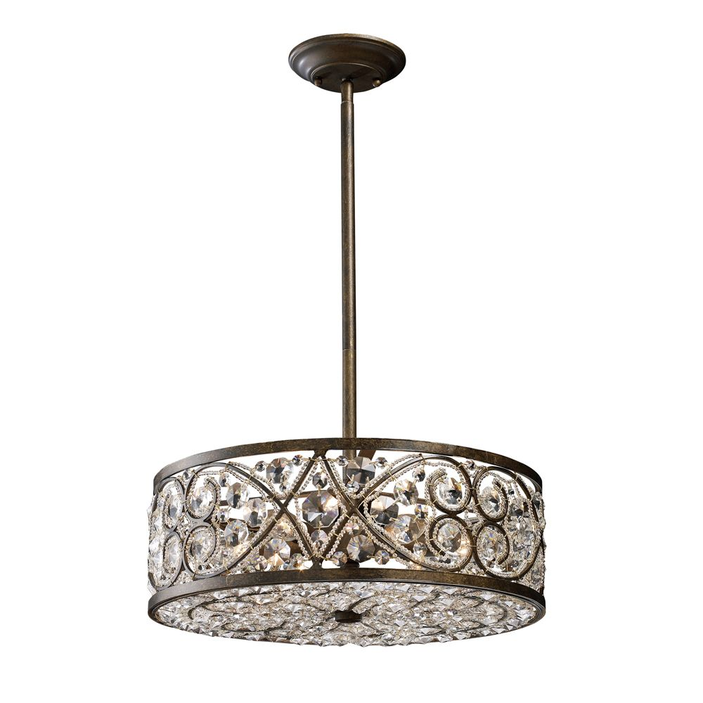 Titan lighting 6 light ceiling mount antique bronze chandelier the home depot canada - Ceiling lights and chandeliers ...