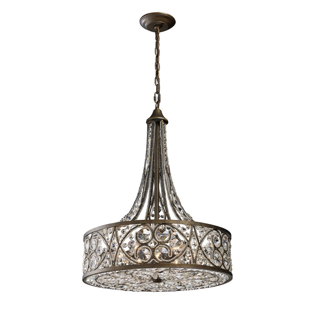 6-Light Ceiling Mount Antique Bronze Chandelier