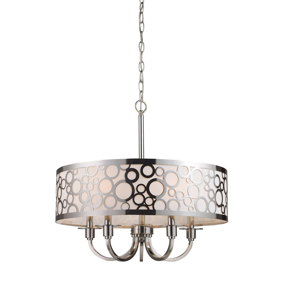 5-Light Ceiling Mount Polished Nickel Chandelier