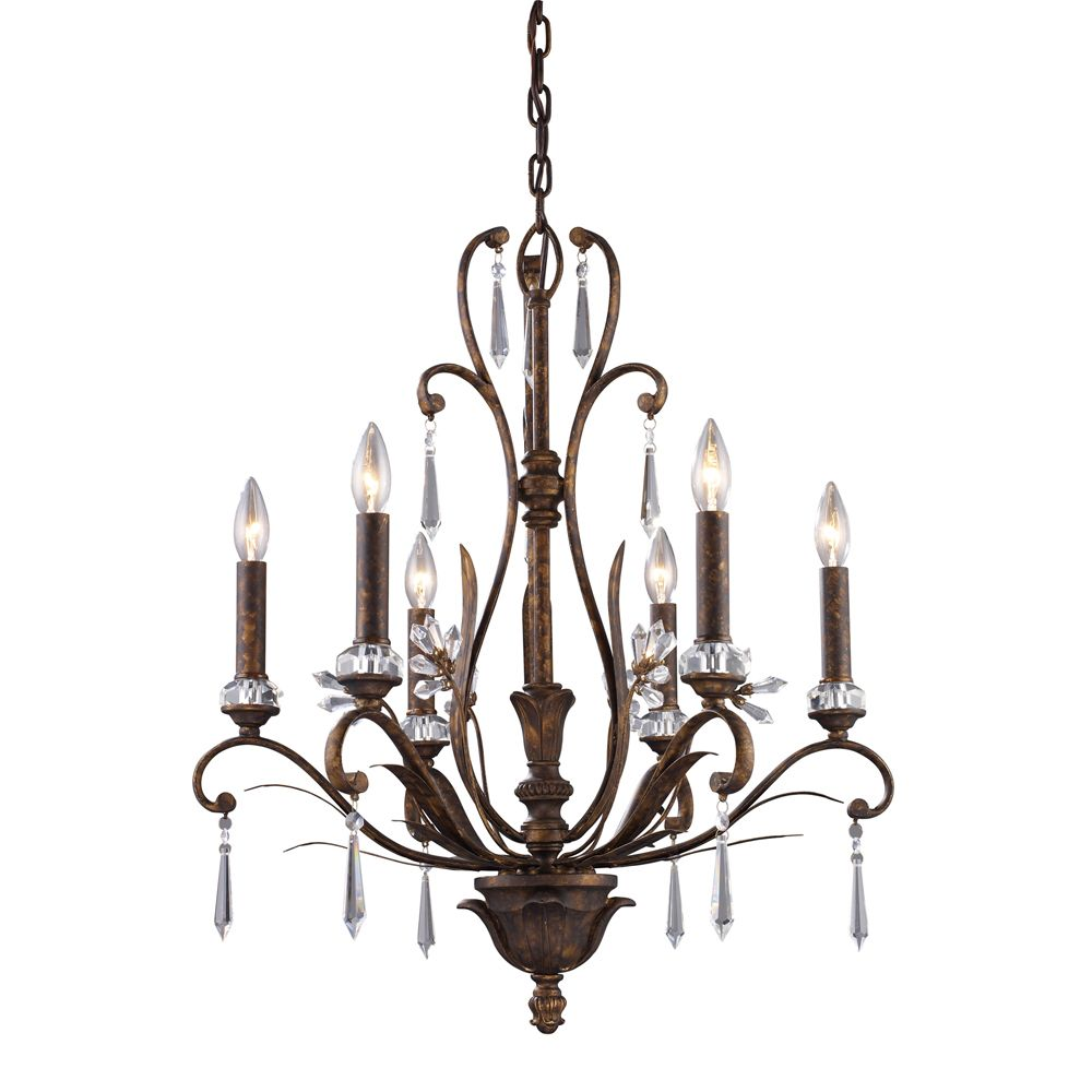6 Light Ceiling Mount Burnt Bronze Chandelier