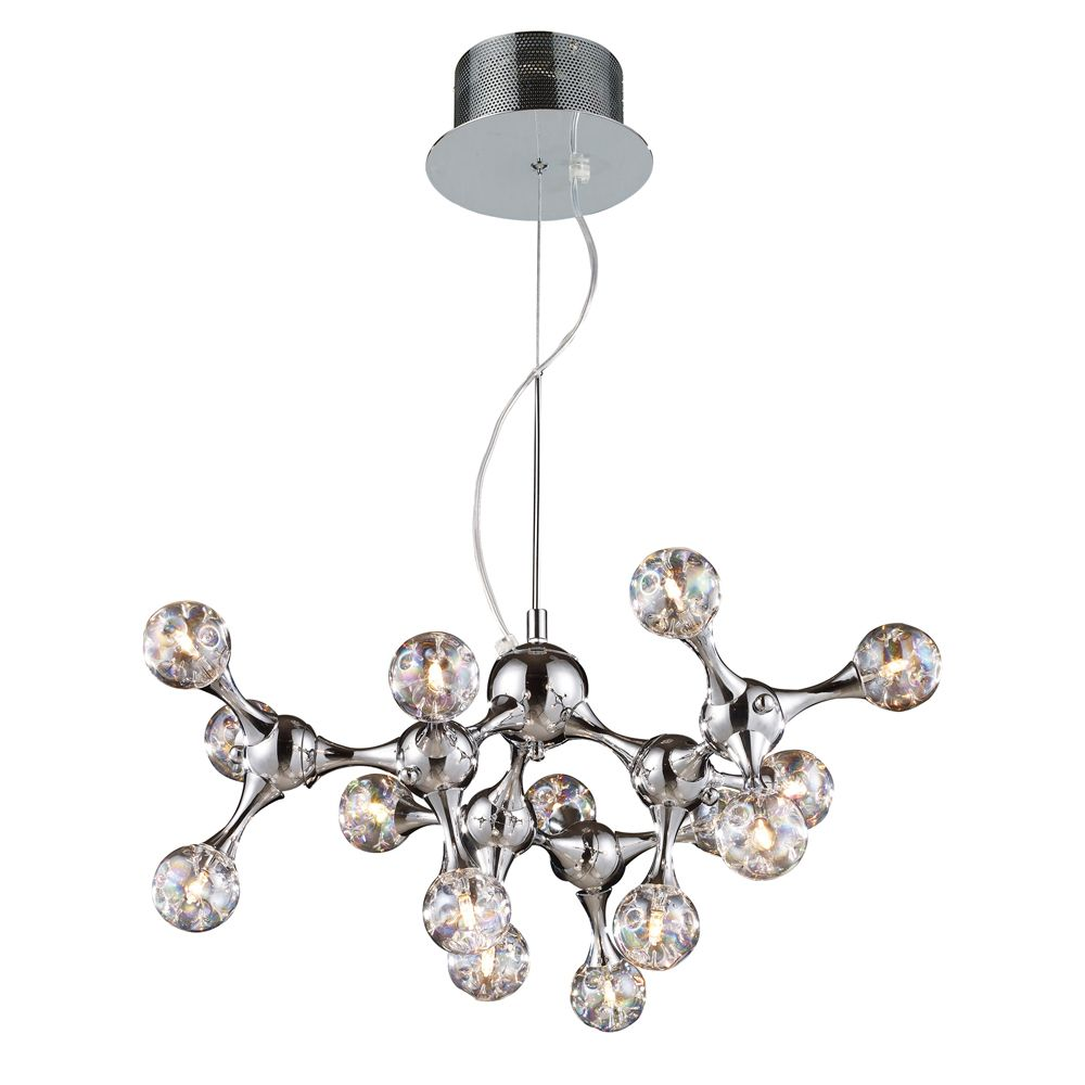 15-Light Ceiling Mount Polished Chrome Chandelier